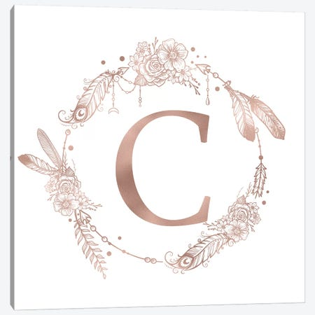Rose Gold Monogram Letter C Pink Boho Bohemian Feather Floral Personalized Alphabet Initial On White Canvas Print #MGK115} by Nature Magick Art Print