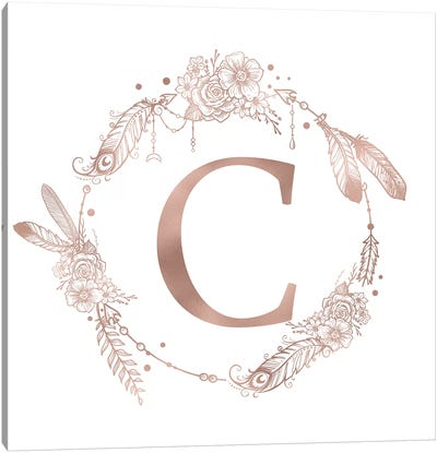 Rose Gold Monogram Letter C Pink Boho Bohemian Feather Floral Personalized Alphabet Initial On White Canvas Art Print