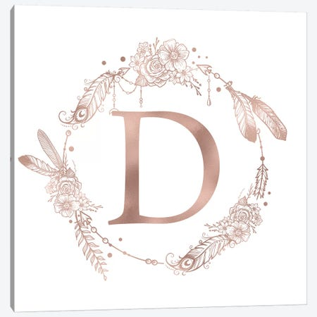 Rose Gold Monogram Letter D Pink Boho Bohemian Feather Floral Personalized Alphabet Initial On White Canvas Print #MGK116} by Nature Magick Art Print