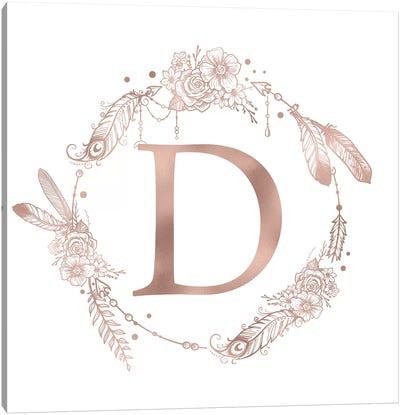 Rose Gold Monogram Letter D Pink Boho Bohemian Feather Floral Personalized Alphabet Initial On White Canvas Art Print