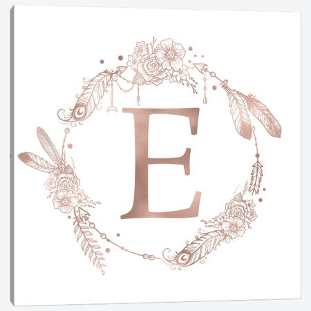 Rose Gold Monogram Letter E Pink Boho Bohemian Feather Floral Personalized Alphabet Initial On White Canvas Print #MGK117} by Nature Magick Canvas Art Print