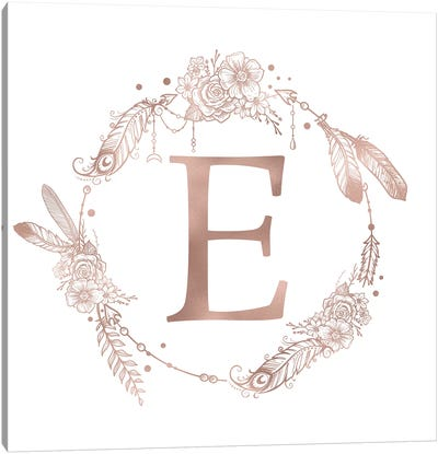 Rose Gold Monogram Letter E Pink Boho Bohemian Feather Floral Personalized Alphabet Initial On White Canvas Art Print