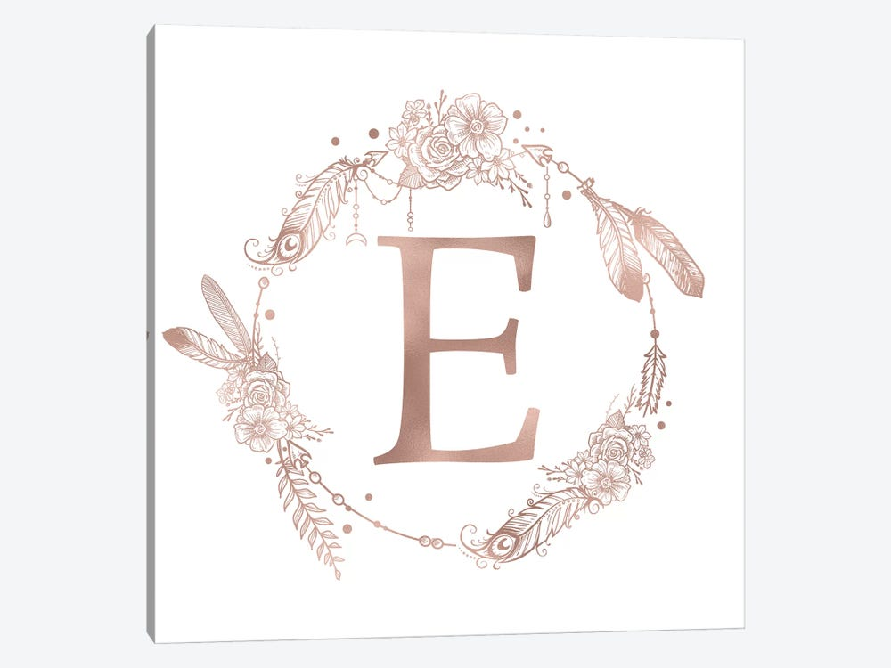 Rose Gold Monogram Letter E Pink Boho Bohemian Feather Floral Personalized Alphabet Initial On White by Nature Magick 1-piece Art Print