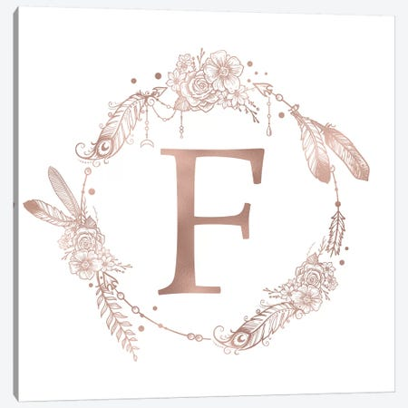 Rose Gold Monogram Letter F Pink Boho Bohemian Feather Floral Personalized Alphabet Initial On White Canvas Print #MGK118} by Nature Magick Canvas Art