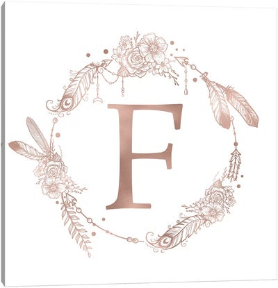 Rose Gold Monogram Letter F Pink Boho Bohemian Feather Floral Personalized Alphabet Initial On White Canvas Art Print