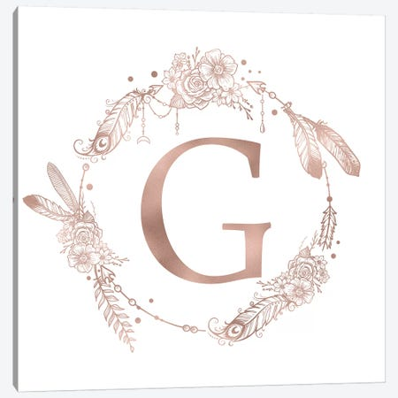 Rose Gold Monogram Letter G Pink Boho Bohemian Feather Floral Personalized Alphabet Initial On White Canvas Print #MGK119} by Nature Magick Canvas Art