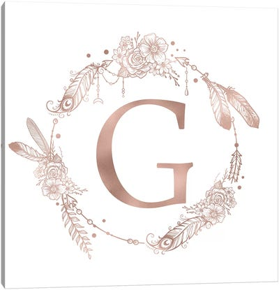 Rose Gold Monogram Letter G Pink Boho Bohemian Feather Floral Personalized Alphabet Initial On White Canvas Art Print