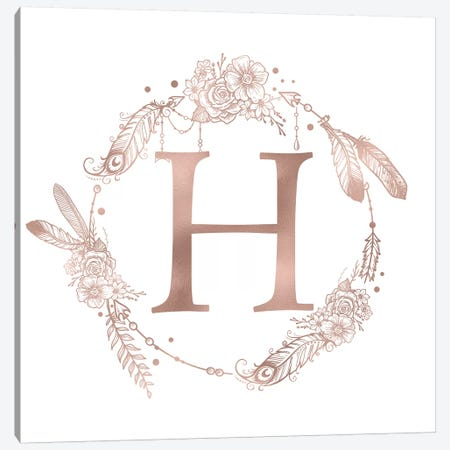 Rose Gold Monogram Letter H Canvas Print #MGK120} by Nature Magick Canvas Art Print