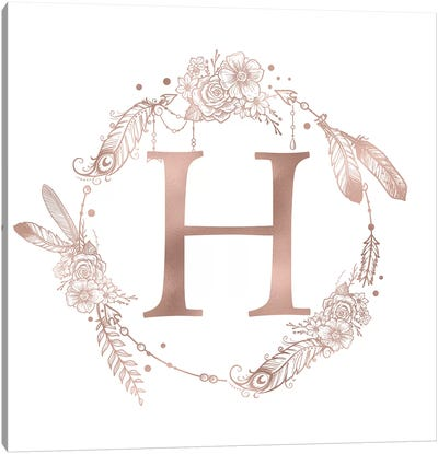 Rose Gold Monogram Letter H Pink Boho Bohemian Feather Floral Personalized Alphabet Initial On White Canvas Art Print