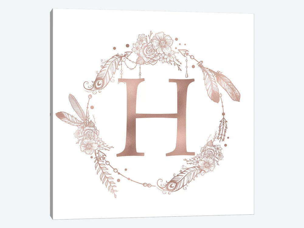 Rose Gold Monogram Letter H Pink Boho Bohemian Feather Floral Personalized Alphabet Initial On White by Nature Magick 1-piece Canvas Print