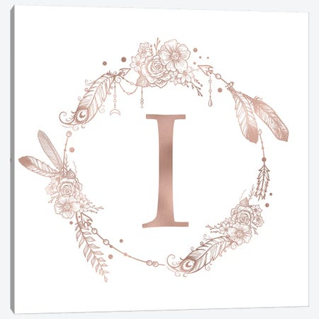 Rose Gold Monogram Letter I Pink Boho Bohemian Feather Floral Personalized Alphabet Initial On White Canvas Print #MGK121} by Nature Magick Art Print