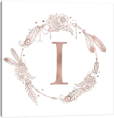 Rose Gold Monogram Letter I Canvas Art Print