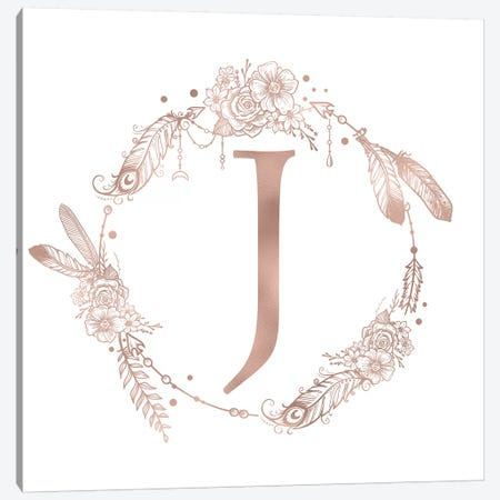 Rose Gold Monogram Letter J Pink Boho Bohemian Feather Floral Personalized Alphabet Initial On White Canvas Print #MGK122} by Nature Magick Canvas Print