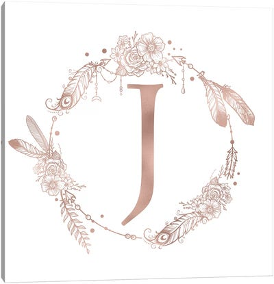 Rose Gold Monogram Letter J Pink Boho Bohemian Feather Floral Personalized Alphabet Initial On White Canvas Art Print