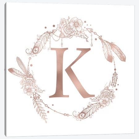 Rose Gold Monogram Letter K Pink Boho Bohemian Feather Floral Personalized Alphabet Initial On White Canvas Print #MGK123} by Nature Magick Canvas Art Print