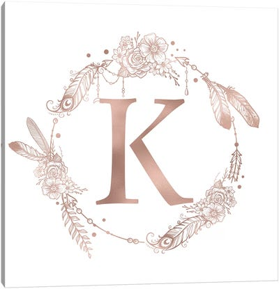 Rose Gold Monogram Letter K Pink Boho Bohemian Feather Floral Personalized Alphabet Initial On White Canvas Art Print