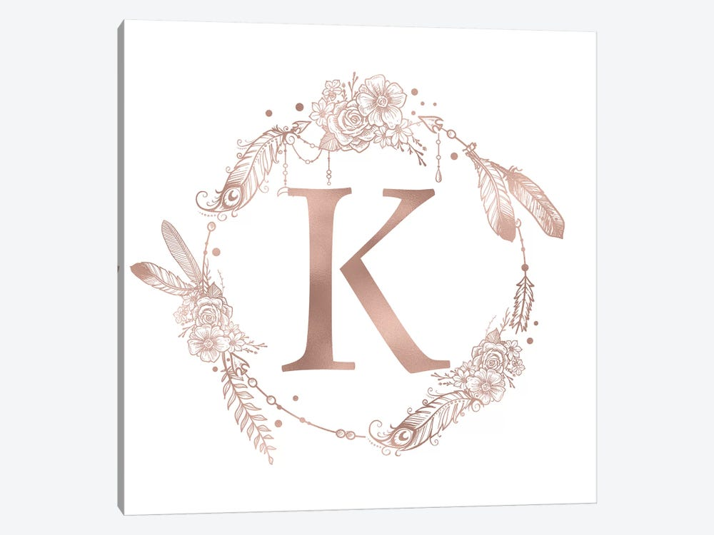 Rose Gold Monogram Letter K Pink Boho Bohemian Feather Floral Personalized Alphabet Initial On White by Nature Magick 1-piece Canvas Wall Art