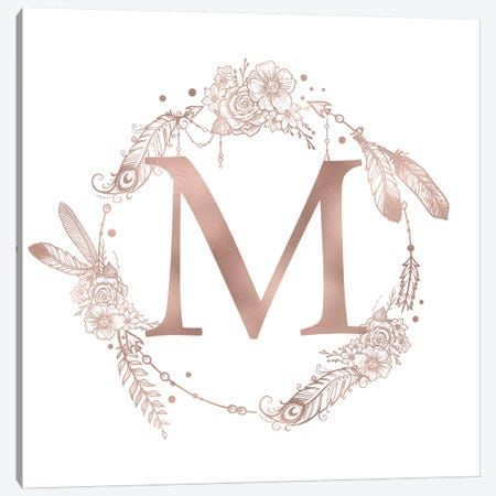 Rose Gold Monogram Letter M Pink Boho Bohemian Feather Floral Personalized Alphabet Initial On White Canvas Print #MGK125} by Nature Magick Canvas Artwork