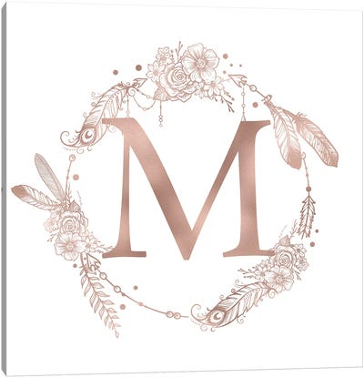 Rose Gold Monogram Letter M Pink Boho Bohemian Feather Floral Personalized Alphabet Initial On White Canvas Art Print