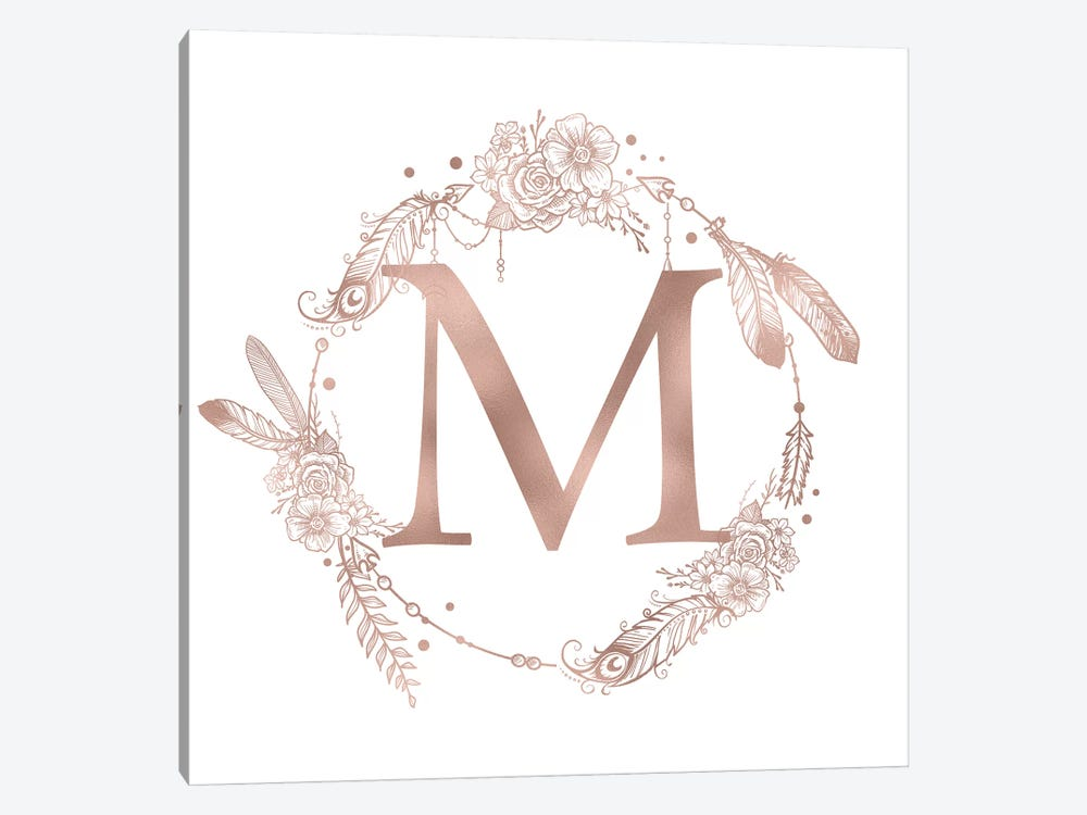 Rose Gold Monogram Letter M Pink Boho Bohemian Feather Floral Personalized Alphabet Initial On White by Nature Magick 1-piece Canvas Art