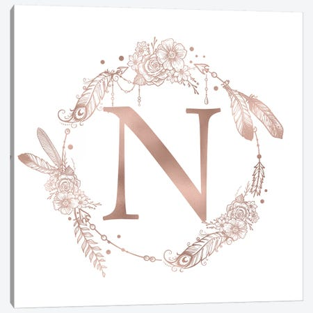 Rose Gold Monogram Letter N Canvas Print #MGK126} by Nature Magick Canvas Artwork