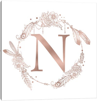 Rose Gold Monogram Letter N Pink Boho Bohemian Feather Floral Personalized Alphabet Initial On White Canvas Art Print