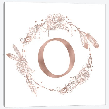 Rose Gold Monogram Letter O Canvas Print #MGK127} by Nature Magick Canvas Wall Art