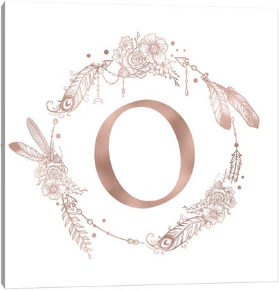 Rose Gold Monogram Letter O Pink Boho Bohemian Feather Floral Personalized Alphabet Initial On White Canvas Art Print