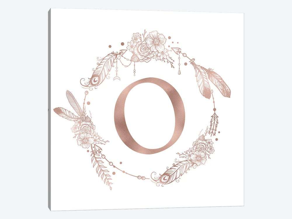 Rose Gold Monogram Letter O Pink Boho Bohemian Feather Floral Personalized Alphabet Initial On White by Nature Magick 1-piece Canvas Art