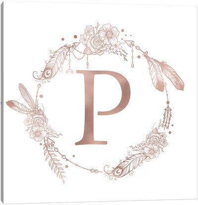 Rose Gold Monogram Letter P Pink Boho Bohemian Feather Floral Personalized Alphabet Initial On White Canvas Art Print