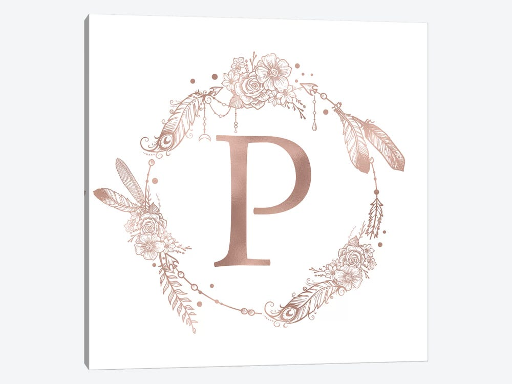 Rose Gold Monogram Letter P by Nature Magick 1-piece Art Print