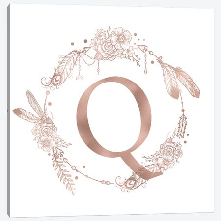 Rose Gold Monogram Letter Q Canvas Print #MGK129} by Nature Magick Art Print