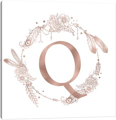 Rose Gold Monogram Letter Q Canvas Art Print