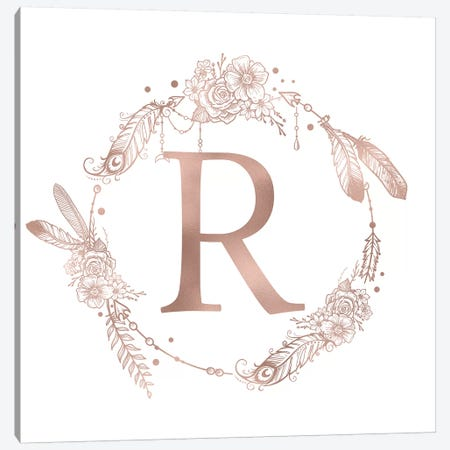 Rose Gold Monogram Letter R Pink Boho Bohemian Feather Floral Personalized Alphabet Initial On White Canvas Print #MGK130} by Nature Magick Canvas Artwork