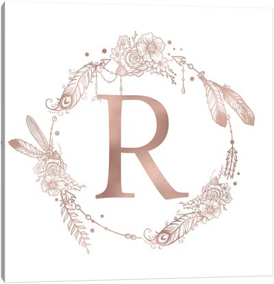 Rose Gold Monogram Letter R Pink Boho Bohemian Feather Floral Personalized Alphabet Initial On White Canvas Art Print