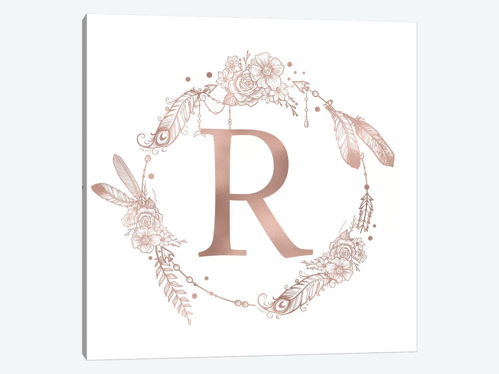 Rose Gold Monogram Letter R Pink Boho Bohemian Feather Floral Personalized Alphabet Initial On White by Nature Magick 1-piece Canvas Artwork