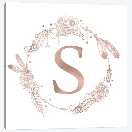 Rose Gold Monogram Letter S Canvas Print #MGK131} by Nature Magick Canvas Artwork