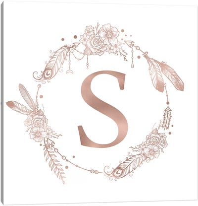 Rose Gold Monogram Letter S Pink Boho Bohemian Feather Floral Personalized Alphabet Initial On White Canvas Art Print