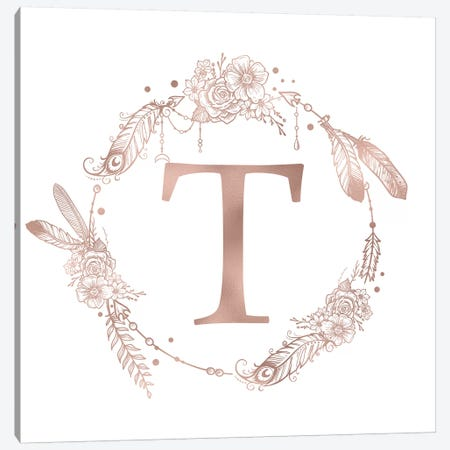 Rose Gold Monogram Letter T Pink Boho Bohemian Feather Floral Personalized Alphabet Initial On White Canvas Print #MGK132} by Nature Magick Canvas Wall Art