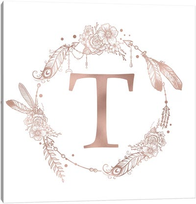 Rose Gold Monogram Letter T Pink Boho Bohemian Feather Floral Personalized Alphabet Initial On White Canvas Art Print