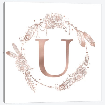 Rose Gold Monogram Letter U Pink Boho Bohemian Feather Floral Personalized Alphabet Initial On White Canvas Print #MGK133} by Nature Magick Canvas Wall Art