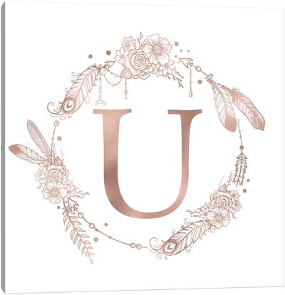 Rose Gold Monogram Letter U Pink Boho Bohemian Feather Floral Personalized Alphabet Initial On White Canvas Art Print