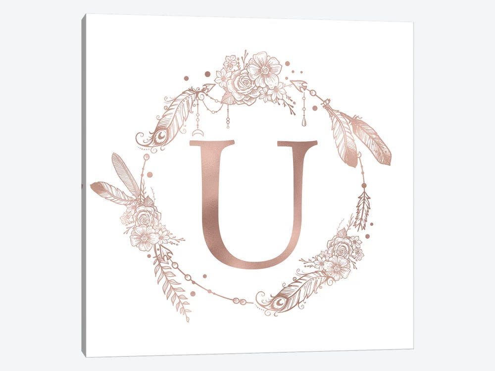Rose Gold Monogram Letter U Pink Boho Bohemian Feather Floral Personalized Alphabet Initial On White by Nature Magick 1-piece Canvas Art Print