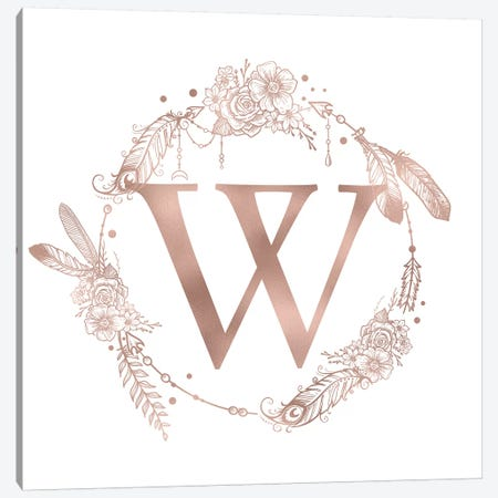 Rose Gold Monogram Letter W Pink Boho Bohemian Feather Floral Personalized Alphabet Initial On White Canvas Print #MGK135} by Nature Magick Canvas Art Print