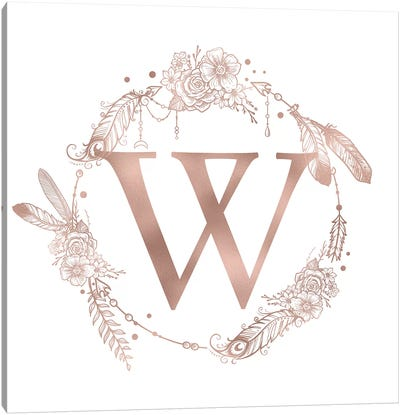 Rose Gold Monogram Letter W Pink Boho Bohemian Feather Floral Personalized Alphabet Initial On White Canvas Art Print
