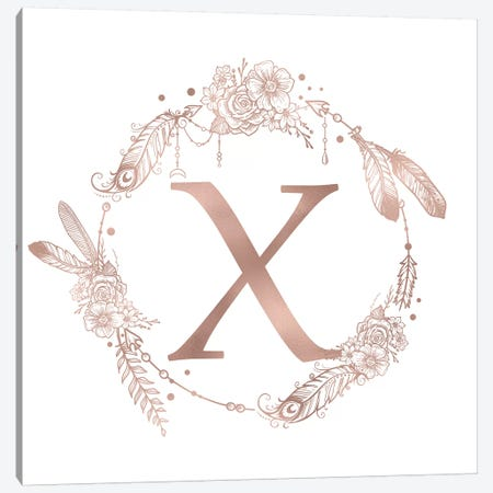 Rose Gold Monogram Letter X Pink Boho Bohemian Feather Floral Personalized Alphabet Initial On White Canvas Print #MGK136} by Nature Magick Canvas Art Print