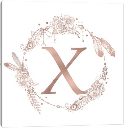 Rose Gold Monogram Letter X Pink Boho Bohemian Feather Floral Personalized Alphabet Initial On White Canvas Art Print