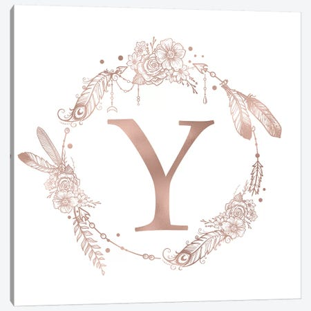 Rose Gold Monogram Letter Y Canvas Print #MGK137} by Nature Magick Art Print