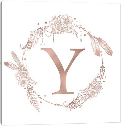 Rose Gold Monogram Letter Y Pink Boho Bohemian Feather Floral Personalized Alphabet Initial On White Canvas Art Print