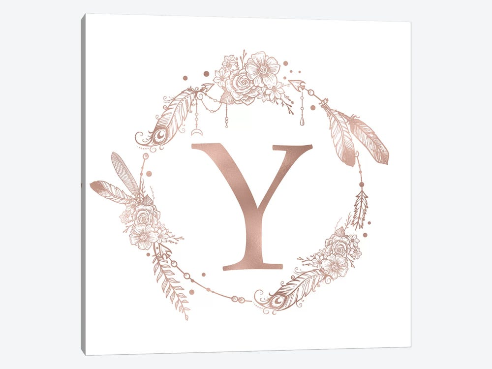 Rose Gold Monogram Letter Y Pink Boho Bohemian Feather Floral Personalized Alphabet Initial On White by Nature Magick 1-piece Canvas Art Print
